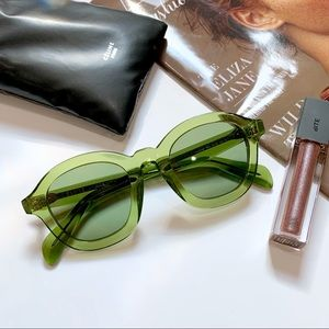 Celine Sunglasses NWOT Round Clear Green Acetate